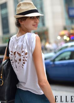 elle:  Street Chic: New York Model Georgina Stojiljkovic cruises the city in a Zadig & Voltaire t-shirt Photo: Courtney D'Alesio