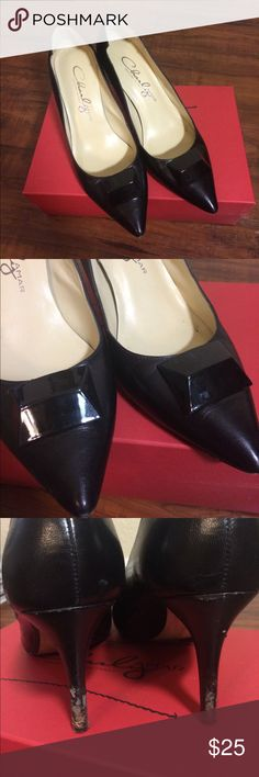 Charly Amar Black Leather Pumps In good condition overall, although there is some damage to the heels and a little scuffing on the toes. Designed in Italy. Genuine leather. Pointed toe. Come in box. Size 9. Charly Amar Shoes Heels