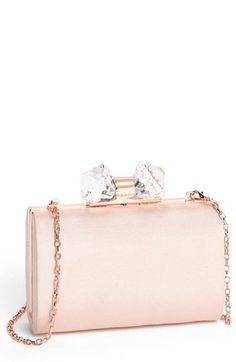 Ted Baker London Holiday Crystal Frame Clutch. (Kiss-Lock Closure. Crossbody Chain. Nude Pink.) (2013)