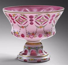 GLASS, red lined white base, polychrome flowers and garlands, Europe, 19th century, high: 17 cm, diam: 20 cm