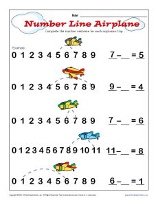 Subtraction Number Line - A bit of review for our first week of 2nd grade