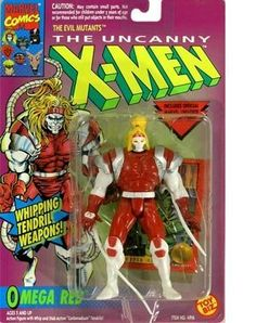 "X-men Omega Red Action Figure by Toy Biz. $24.95. Action figure with Whipping tendril weapons. action figure with whip and stab action ""carbonadium"" tendrils. fully poseable and highly detailed. Poseable Action Figure from the Uncanny X-men. Omega red has ""whipping tendril weapons and includes an official Marvel Universe Trading Card."