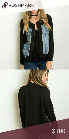 SALE NWT BLUE DENIM BLACK JACKET 100% polyester angelochekk boutique  Jackets & Coats Utility Jackets