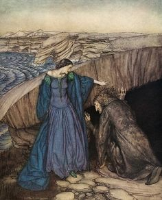 "Merlin and Nimue. How by her subtle working she made Merlin to go under the stone... ""The Romance of King Arthur…"" (1917) illustrated by Arthur Rackham"