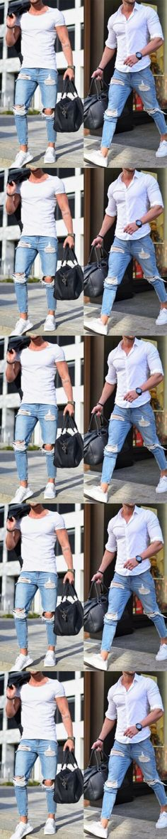 Hirigin Fashion Men Jeans Men's Ripped Skinny Biker Jeans Destroyed Frayed Slim Fit Denim Pants Biker Jean