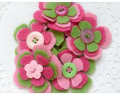 TUTTI FRUITTI x 3 Felt Flower Embellishments by thejellybeanstudio