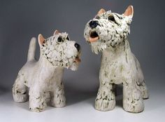 Stoneware West Highland Terriers, sculpted by JJ Vincent