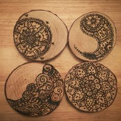 get the kids interested in land and nature art with a lesson in freehand pyrography on coasters cut from found wood , great to do on scout and guide camps , festivals or camping with the family bushcraft style , make them for fathers day gifts too, dad will love it for his desk Handmade wood slice coasters. Freehand zentangle designs with pyrography
