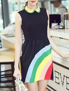 Shop Black Lapel Sleeveless Rainbow Print Dress online. SheIn offers Black Lapel Sleeveless Rainbow Print Dress & more to fit your fashionable needs.