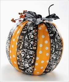 ribbon and paint on pumpkin