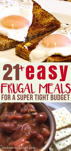 21 Easy Frugal Meal ideas for when you are on an extremely tight budget. Great, healthy frugal meals for large families that are kid friendly.