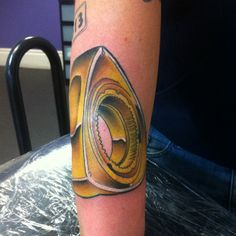 Tattoo by Lou Shaw - Four Aces Tattoo, Aldinga Beach, South Australia - 8556 5467 Tattoo on arm of a rotor (car part) part of a car parts themed sleeve #rotor #tattoo #cartattoo #colourtattoo #sleeveprogress #tattoosleeve