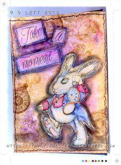 Digi Choosday, Week 23 Add a Sentiment, Polkadoodles, Winnie in Wonderland, Mixed Media, Art Journal, FC Gelatos