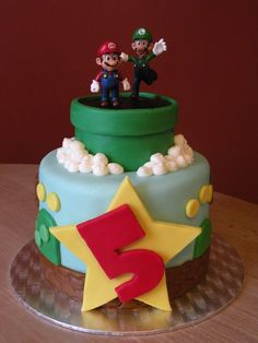 I want a cake like this for Evan's birthday party !! super mario bros. cake