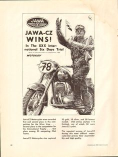 1955 Jawa CZ in the XXX ISDT Ad