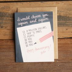 Anniversary Note by 1canoe2 on Etsy