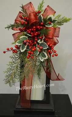 Christmas Lantern Swag with Holly by TheRustyHeart on Etsy
