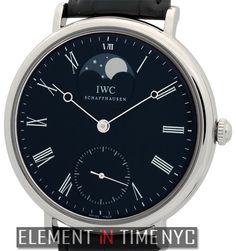 IWC Portofino Hand Wound Moonphase 46mm iN Stainless Steel With A Black Roman Dial (IW5448-01)