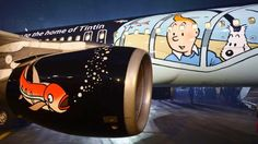 Tintin ©: Brussels Airlines' New 'Tintin Aircraft' Airplane Decor, Airplane Design, Airplane Painting, Durham Museum, Passenger Aircraft, Aircraft Painting, Customer Engagement, Commercial Aircraft, Civil Aviation