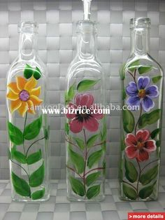 painted bottles | Glass Bottle Painting Patterns (Bottle Painting Diy)