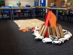 Stone Age campfire for year 3 topic inspiration day School Displays, Classroom Displays, Will Turner, Stone Age Ks2, Dark Nursery, Primary History, Early Humans, Book Corners, We Will Rock You