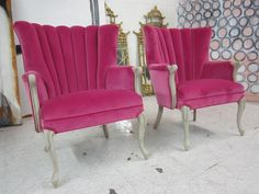 Very few things deep pink velvet doesnt make a statement on! Hot Pink Channel Back Arm Chairs