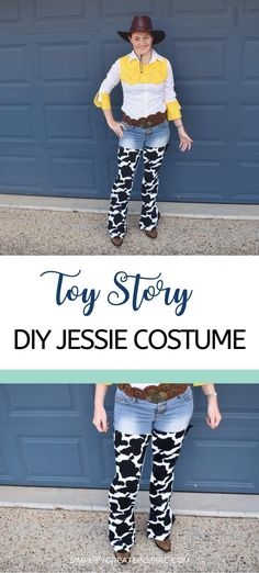 DIY Toy Story Jessie Costume Tutorial Ready to rock those cowgirl boots! This DIY Jessie Toy Story costume is easy to make and will be a showstopper for your next Halloween costume event! Jessie Toy Story Costume, Jessie Costumes, Toy Story Costumes, Family Costumes, Disney Costumes, Halloween Costumes, Disney Halloween, Cowgirl Costume, Costume Hats