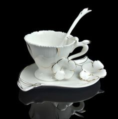 Tea Time Unique Graceful Frangipani Flower Coffee Set Tea Cup Saucer Spoon | eBay