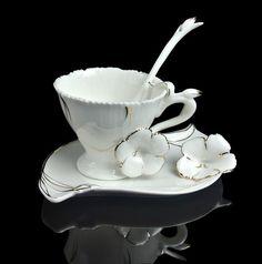 Tea Time Unique Graceful Frangipani Flower Coffee Set Tea Cup Saucer Spoon   eBay