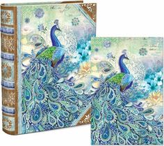 This fabulous keepsake box features a handsome peacock, in shades of blue and green, and with a paisley tail. Flowers and more paisley surrounds him. On the 20 blank note cards inside, the same gorgeous pattern can be found. Both cards and box are accented with gold foil, and the cards include matching full-color envelopes!
