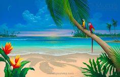 Beach Painting_Another Perfect Day Seascape Paradise Painting, Beach Scene Painting, Beach Mural, Beach Art, Sunset Beach, Mural Art, Wall Murals, Wall Decal, Another Perfect Day