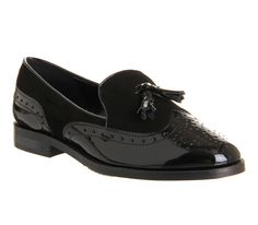 Office Vectra black suede and patent tassel brogue loafers, £65