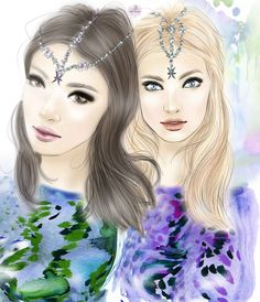 Pisces by Yana Vaneeva All About Pisces, Pisces Fish, Astrology Pisces, Pisces Woman, Twin Girls, Media Images, Art Portfolio, Fashion Sketches, Art Day