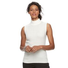 Women's Dana Buchman Sleeveless Turtleneck Top, White