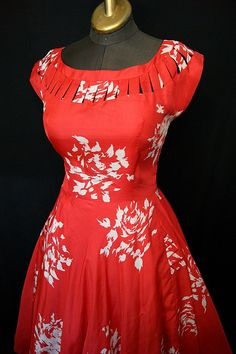 Stunning 1950's red silk new look dress with white by wearitagain, $298.00