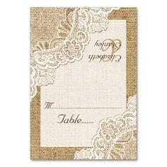 White corner lace on burlap wedding place card table cards Card Table Wedding, Wedding Guest List, Wedding Place Cards, Wedding Sets, Wedding Trends, Beige Wedding, Casual Wedding, Rustic Wedding, Burlap Wedding Decorations