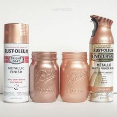 RustOleum Metallic Spray Paints is part of Rust Oleum Spray Paint Universal Metallic - 2016 RustOleum Metallic is a shimmer type finish and very smooth Im going to list the colors in … Spray Paint Mason Jars, Glitter Mason Jars, Painted Mason Jars, Mason Jar Crafts, Mason Jar Diy, Mason Jar Vases, Bottle Crafts, Best Gold Spray Paint, Copper Spray Paint