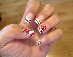 French tip with red flower