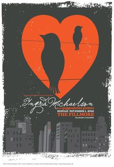 Ingrid Michaelson rock poster Fillmore San Francisco  - very limited edition gig poster. $20.00, via Etsy.