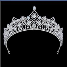 2 Inch Height Full AAA Marquise Diamond Cubic Zircon Bridal Tiara Crown Silver