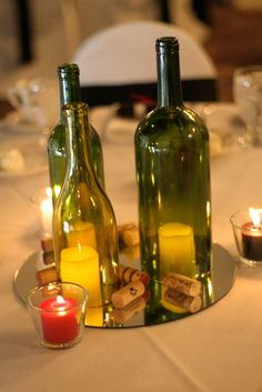 Wine Bottle Decorations Glass Wine Bottle Candles Set Of 3  More Table Decorations And