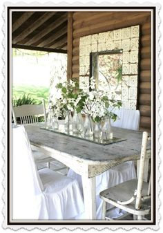 Prairie Flower Farm porch table, chairs and mirrors