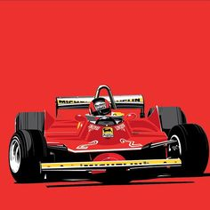 """curb77: """" Gilles Villenueve would have been 65 today. #SalutGilles Illustration by Stuart Macey. """""""
