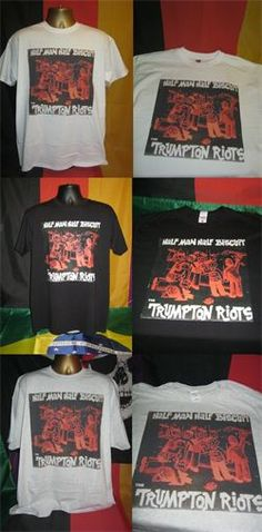 HALF MAN HALF BISCUIT- THE TRUMPTON RIOTS- FRONT PRINTED T SHIRTS IN BLACK, WHITE AND ASH GREY