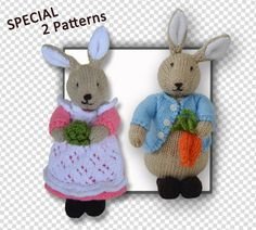 Beatrix Flufftail & Peter Bunny Rabbit Patterns at a reduced price at http://www.tbeecosy.com/product/peter-bunny-rabbit-and-beatrix-flufftail-bunny-rabbit-toy-2-patterns/