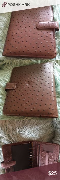 Franklin Covey Leather Agenda Book Organizer Brown Franklin Covey Organizer.  Real leather with an ostrich look.  Nice size with lots of compartments, slots, pen holders, ID slot and even a zippered pocket.  Nice condition! Franklin Covey Bags Briefcases