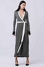 DVF Cybil Two Wrap Dress in Black/rock/ivory