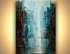 Original abstract art paintings by Osnat - teal abstract city painting modern palette knife