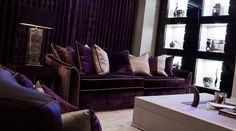 Bespoke made, purple velvet sofa in a Cheshire project from our design practice. Luxury Homes Interior, Interior And Exterior, Interior Design, Luxury Sofa, Luxury Living, Purple Sofa, Purple Velvet, Bespoke Sofas, Sofa Design