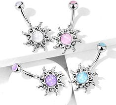 Rose Gold Plated Multi Clear Crystal Stone Tribal Anchor 925 Sterling Silver Belly Button Piercing Ring